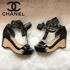 Authentic CHANEL Cannon CC Logo Lace-Up Sandals